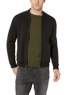 Billy Reid Men's Full Zip Dover Bomber Jacket with Leather Elbow Patches Black Suede XXL