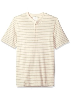 Billy Reid Men's Line Drawn Stripe Short Sleeve Henley  XL