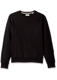 Billy Reid Men's Pullover Dover Crew Sweatshirt with Leather Elbow Patches Black Suede