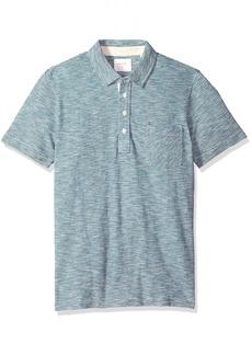 Billy Reid Men's Short Sleeve Pensacola Polo Shirt with Pocket ocean ombre stripe