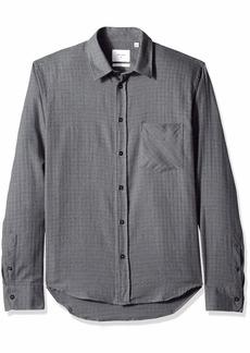 Billy Reid Men's Slim Fit Button Down Kirby Shirt Medium Grey/red Grid S