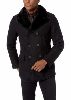 Billy Reid Men's Wool Double Breasted Bond Peacoat with Leather Details Black Cashmere with Fur Collar