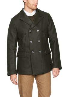Billy Reid Men's Wool Double Breasted Bond Peacoat with Leather Details  S