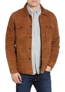 Billy Reid Regular Fit Quilted Suede Shirt Jacket
