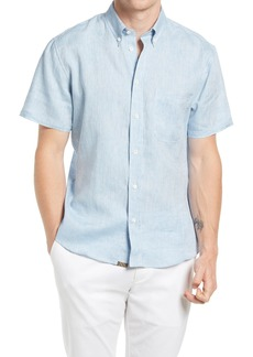 Billy Reid Tuscumbia Standard Fit Short Sleeve Button-Down Slub Linen Shirt