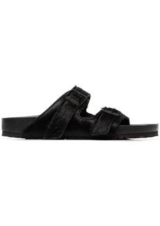 Birkenstock black Arizona pony skin sandals