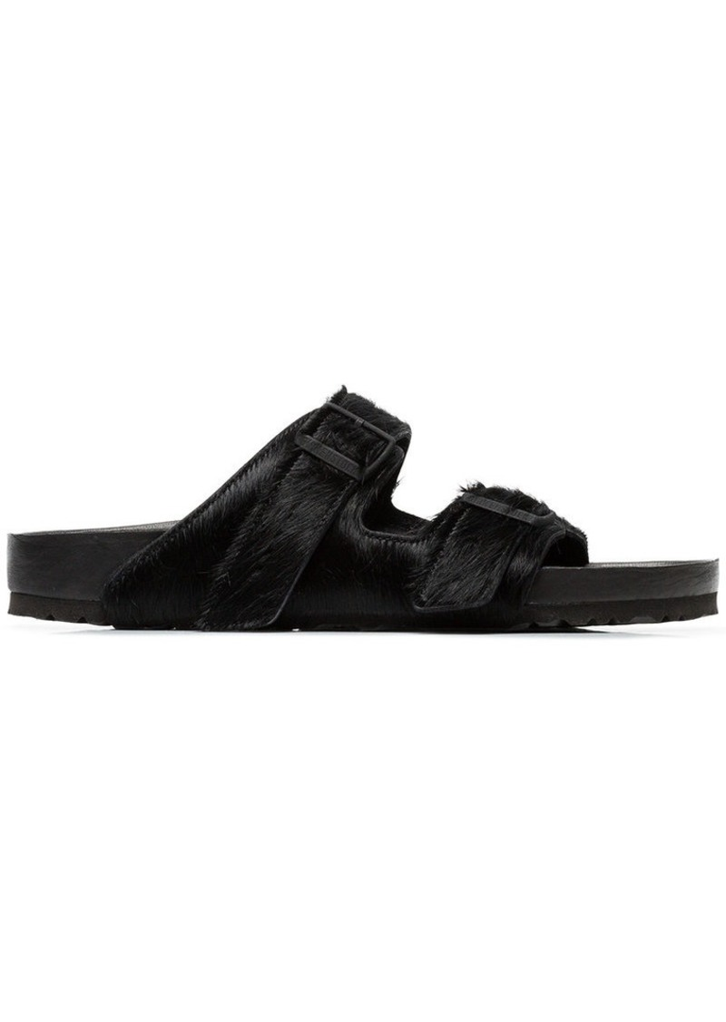 Birkenstock black Arizona pony skin sandals