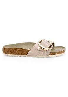 Birkenstock Madrid Big Buckle Metallic Leather Slide Sandals