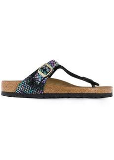 Birkenstock snakeskin holographic sandals
