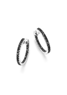Black Diamond Inside Out Hoop Earrings in 14K White Gold, .85 ct. t.w. - 100% Exclusive