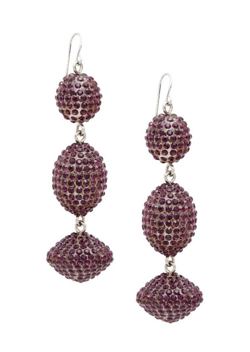 Black Diamond Silvertone Beaded Drop Earrings