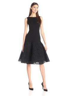 Black Halo Halo Women's Vogue Color Block Dress Solid