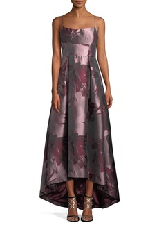 Black Halo Adashi Sleeveless Floral-Brocade High-Low Gown