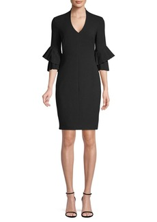 Black Halo Aki Bell Sleeve Mini Sheath Dress