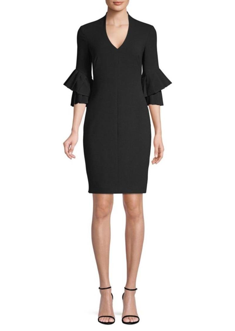 Black Halo Aki Bell Sleeve Mini Sheath Dress