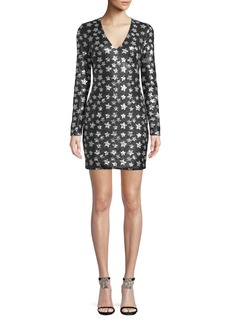 Black Halo Alicia Long-Sleeve Dress w/ Sequin Stars