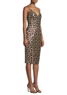 Black Halo Amorie Leopard Sequin Sheath Dress