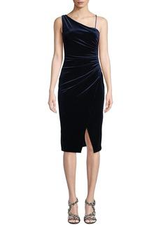 Black Halo Aracely Asymmetric Dress in Ruched Velvet