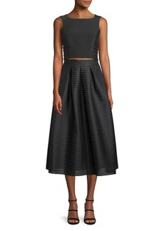Black Halo Arcadia Two-Piece Ribbed Cocktail Dress