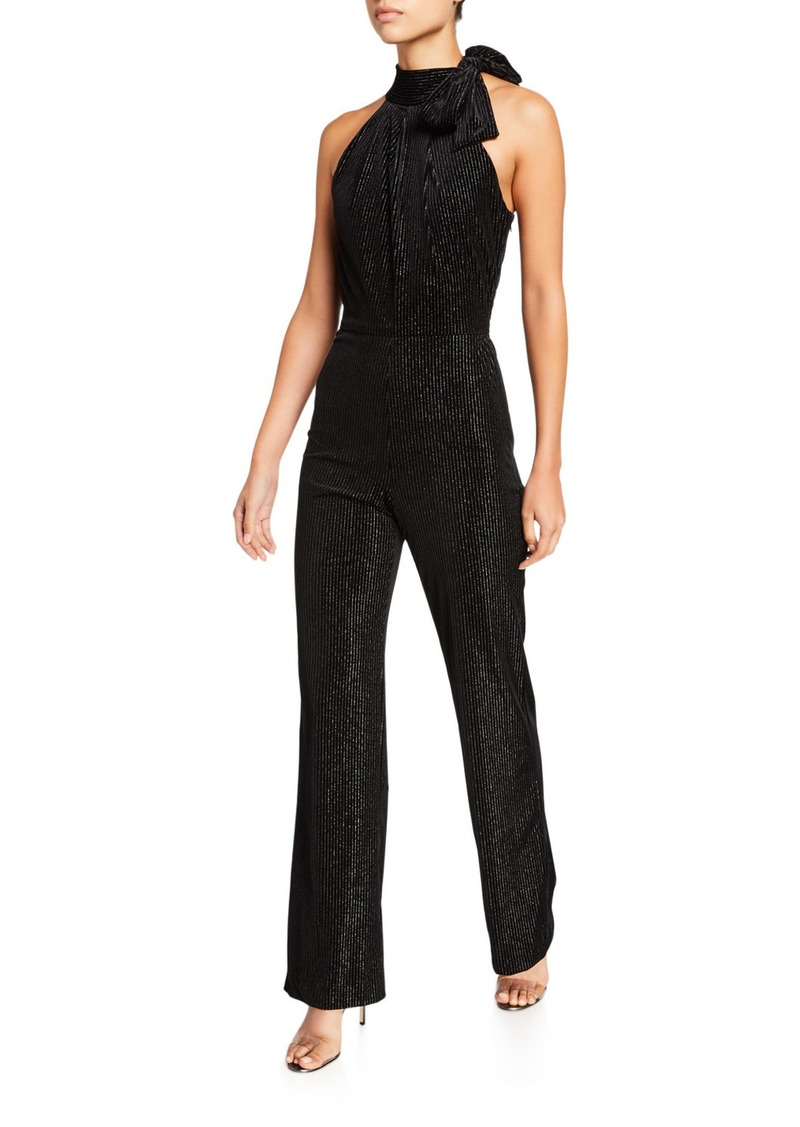 Black Halo Audrey Pinstriped Velvet Halter Jumpsuit