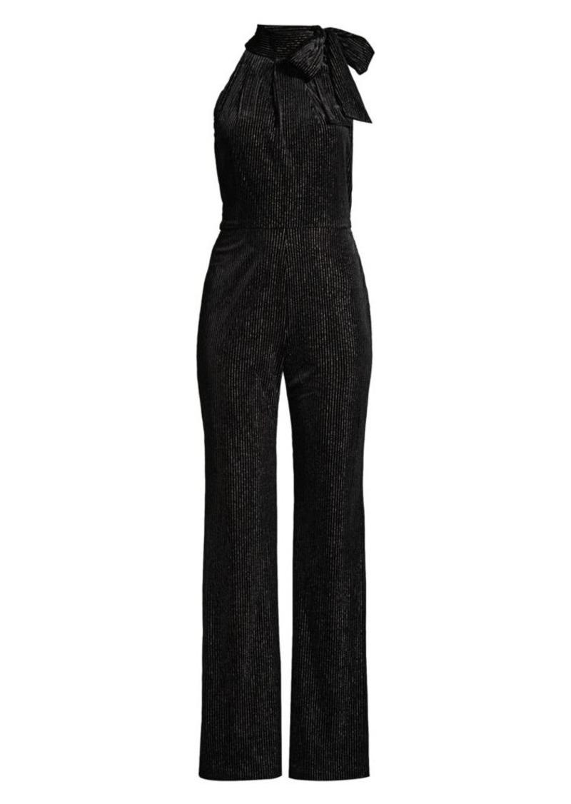 Black Halo Audrey Striped Velvet Jumpsuit
