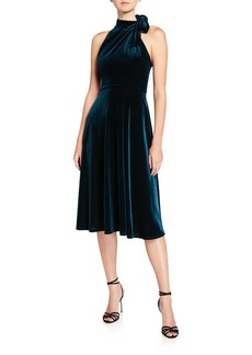 Black Halo Audrey Velvet Tie-Neck Sleeveless Dress