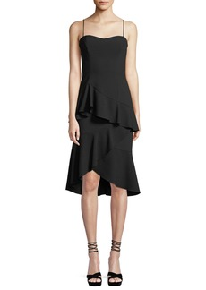 Black Halo Barbados Slip Dress w/ Asymmetric Ruffle Hem