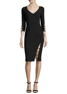 Black Halo 3/4-Sleeve Cutout Sheath Dress