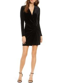 Black Halo Abina Ruched Long Sleeve Black Velvet Minidress