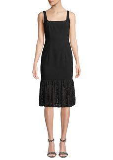 Arabelle Square-Neck Dress w/ Lace Ruffle