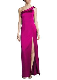 Black Halo Asymmetrical Wide Strap Dolan One-Shoulder Gown