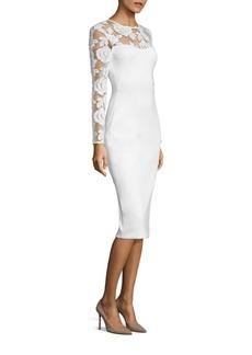 Black Halo Aymme Embroidered Neoprene Sheath Dress
