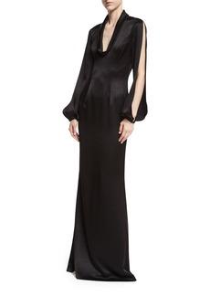 Black Halo Barcelona Split-Sleeve Satin Evening Gown