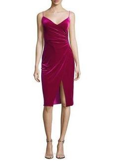 Black Halo Bowery V-Neck Velvet Sheath Dress w/ High Slit
