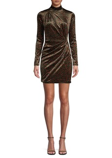 Black Halo Briar Leopard Velvet Mini Dress