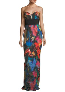 Black Halo Catania Printed Strapless Evening Gown