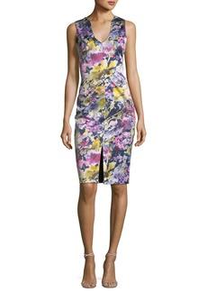 Coral Sleeveless Floral-Print Sheath Dress