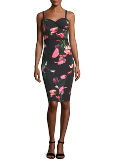 Black Halo Daria Floral-Printed Sheath Day Dress