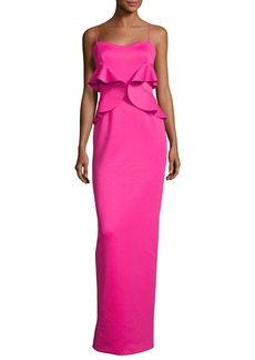 Black Halo Delray Sleeveless Ruffle Scuba Gown  Iconic Pink