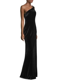 Black Halo Dolan One-Shoulder Velvet Gown