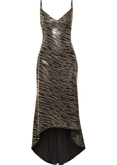 Black Halo Eve By Laurel Berman Woman Armelle Asymmetric Sequined Zebra-print Stretch-jersey Gown Black