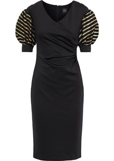 Black Halo Eve By Laurel Berman Woman Elora Metallic Striped Organza-paneled Cady Dress Black