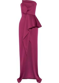 Black Halo Eve By Laurel Berman Woman Jonas Strapless Ponte Peplum Gown Plum