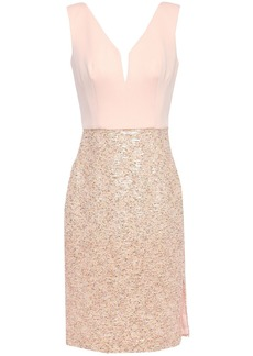 Black Halo Eve By Laurel Berman Woman Paneled Sequined Tulle And Ponte Dress Pink
