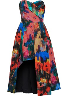 Black Halo Eve By Laurel Berman Woman Strapless Asymmetric Printed Cady Gown Multicolor