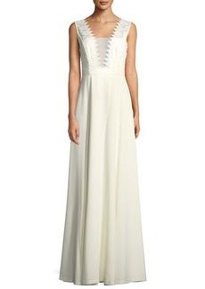 Black Halo Eve Cecilia Crochet-Top Illusion Gown
