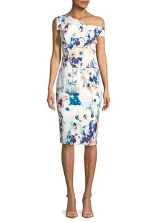 Black Halo Floral Asymmetrical Sheath Dress