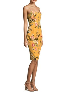 Black Halo Floral-Print Sheath Dress
