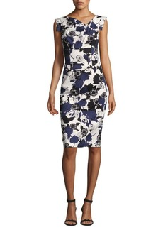 Black Halo Jackie Floral Asymmetric Sheath Dress