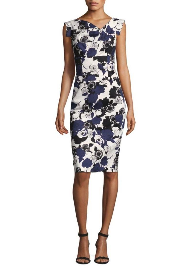 Black Halo Jackie Floral Asymmetric Sheath Dress
